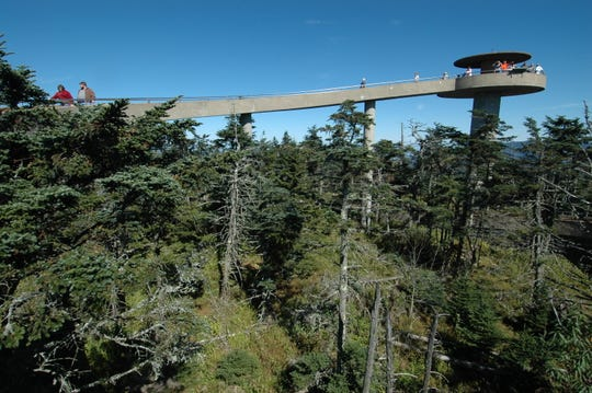 The observation platform and walkway atop Clingmans Dome in the Great Smoky Mountains National Park