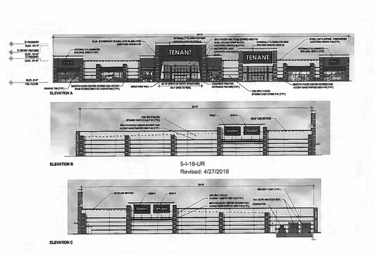 An elevation drawing filed with the Knoxville-Knox County MPC shows a possible replacement building for the two-story Sears at West Town Mall.
