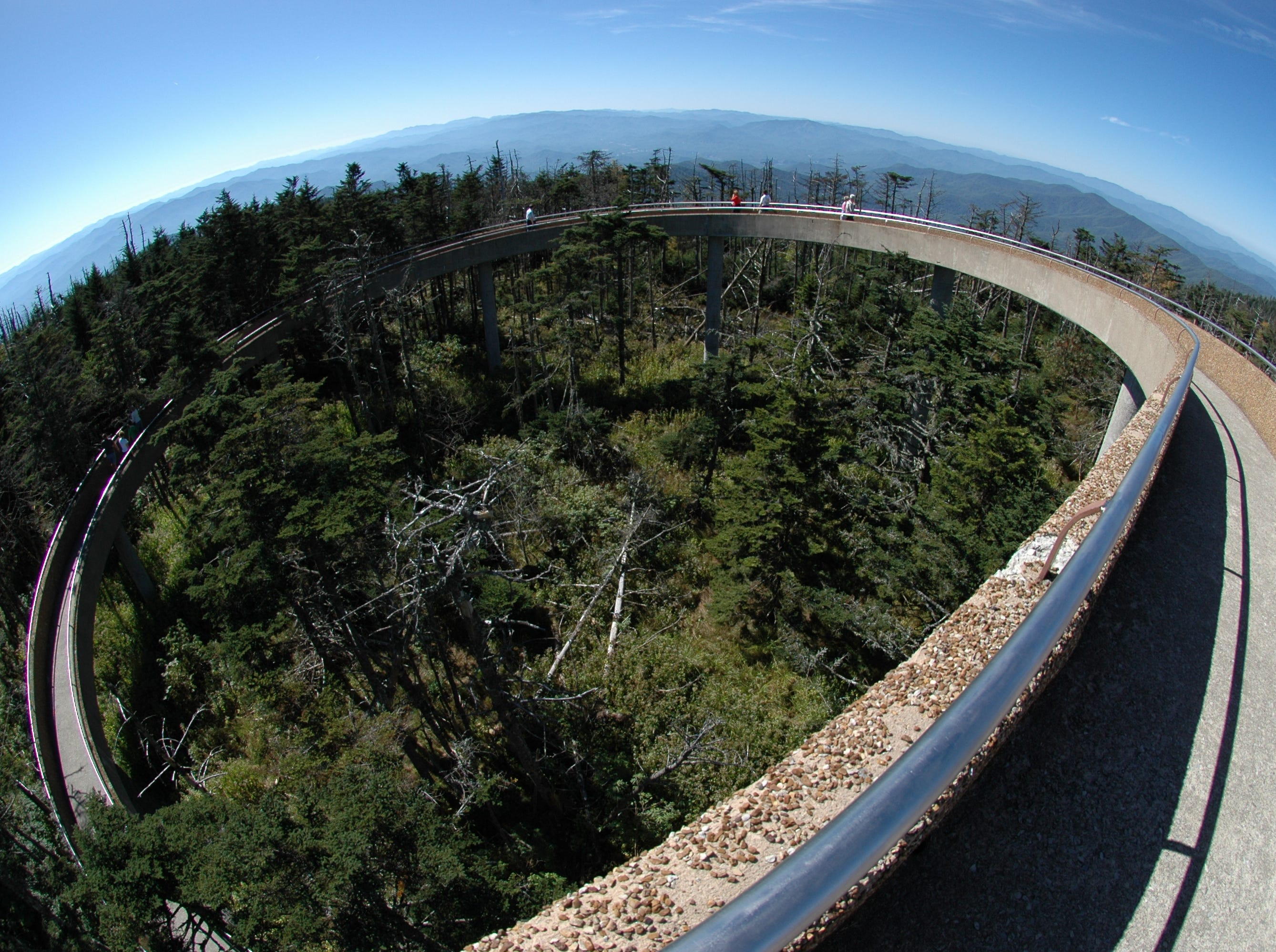 Exaggerated by the use of a fisheye lens, the corkscrew ramp to the observation deck of Clingmans Dome offers provides visitors to the Great Smoky Mountains National Park an unequaled 360-degree view of the park and the neighboring seven states. File photos from  Sunday, Sept. 30, 2007