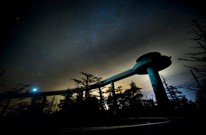 Visitors round the walkway to the Clingmans Dome observation tower on, Nov. 30, 2013.