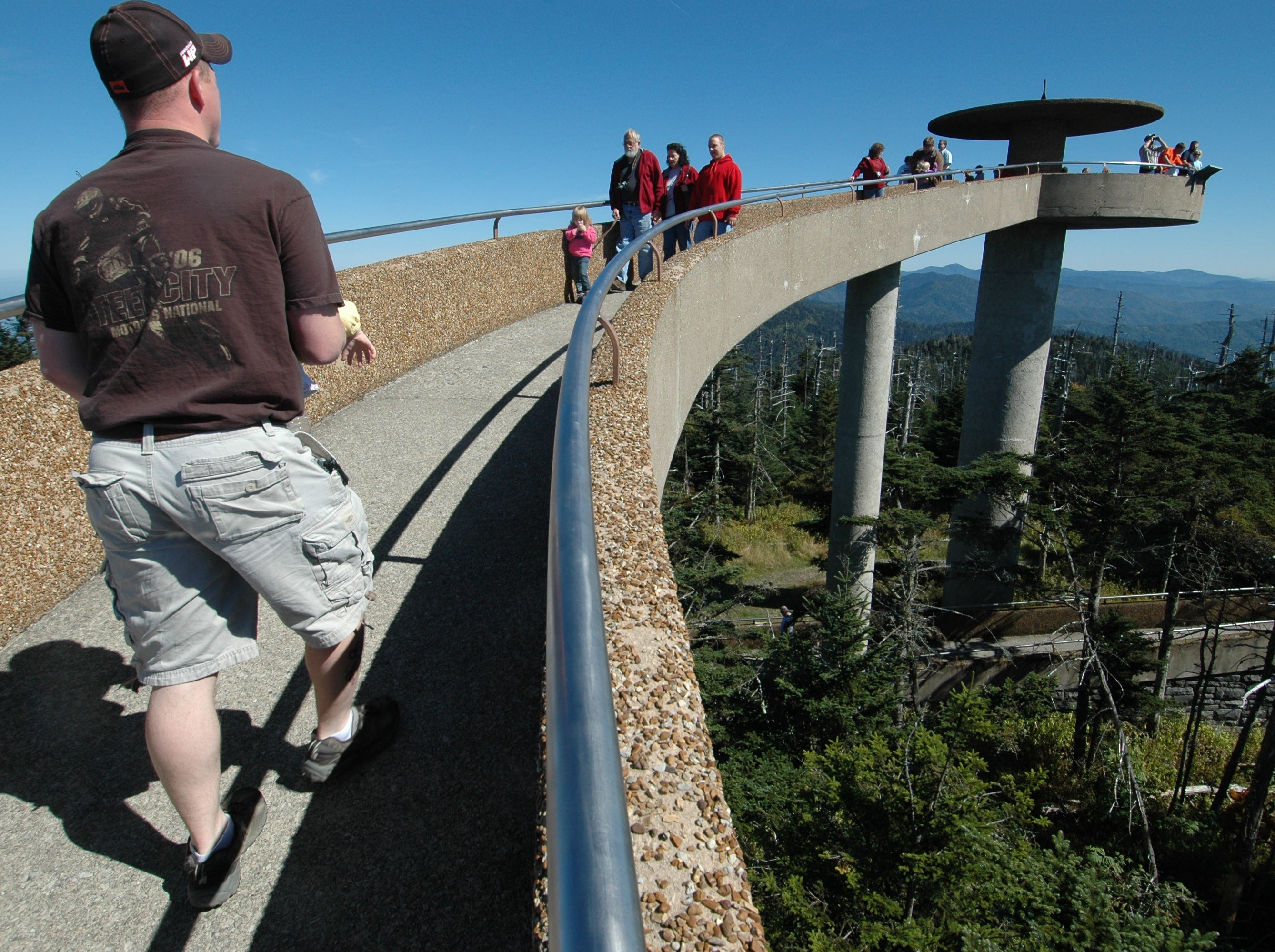 The observation platform and walkway atop Clingmans Dome in the Great Smoky Mountains National Park provides visitors an unequaled 360-degree view of the park and the region. At 6,643 feet above sea-level, it is the highest point in the park and the third-highest peak east of the Mississippi. Filel photo from Sunday, Sept. 30, 2007