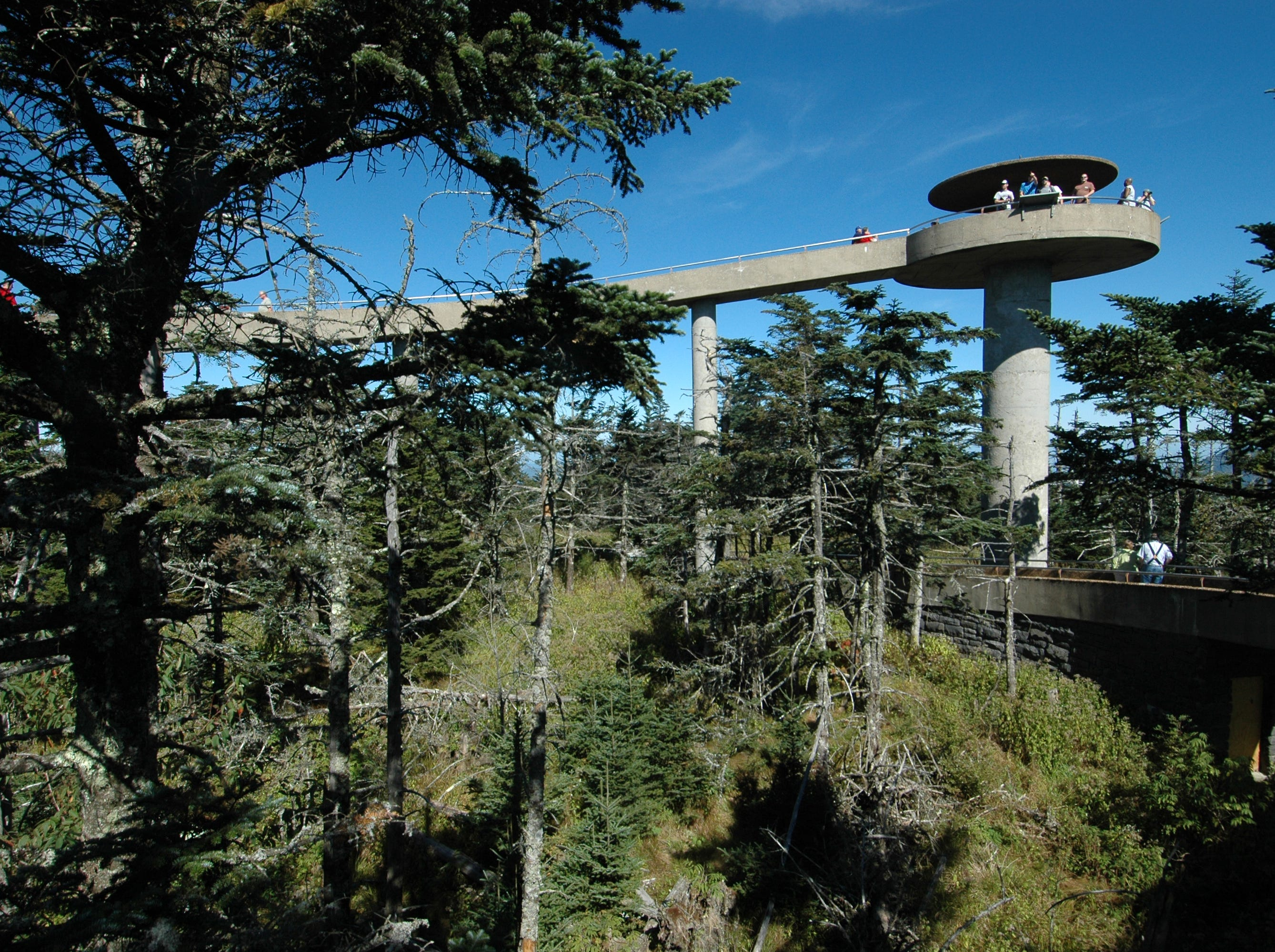 The observation platform at Clingmans Dome in the Great Smoky Mountains National Park provides visitors an unequaled 360-degree view of the park and the region. At 6,643 feet above sea-level, it is the highest point in the park and the third-highest peak east of the Mississippi. (Tracey Trumbull/News Sentinel)