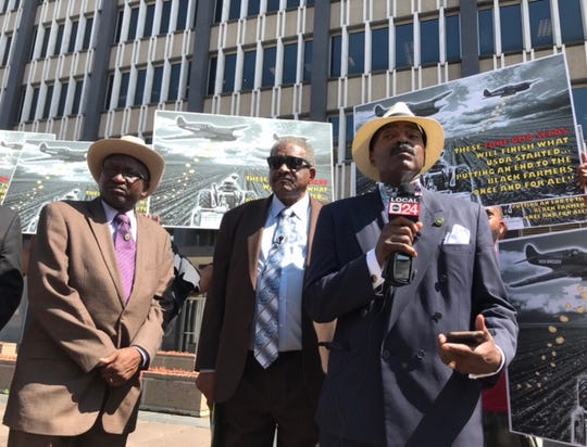 Rep. G.A. Hardaway, D-Memphis, addresses the media during Tuesday's press conference held by the Black Farmers and Agriculturalists Association outside the Federal Building.