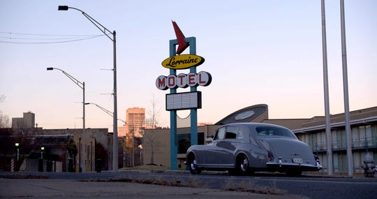 """City of Kings: Elvis' vintage Rolls-Royce visits the Lorraine Motel, where Dr. Martin  Luther King Jr. was killed in 1968, in """"The King."""""""