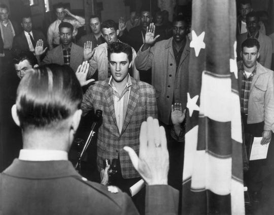 "Elvis' induction into the Army is among the events that make Presley's story particularly ""American,"" according to the documentary, ""The King."""