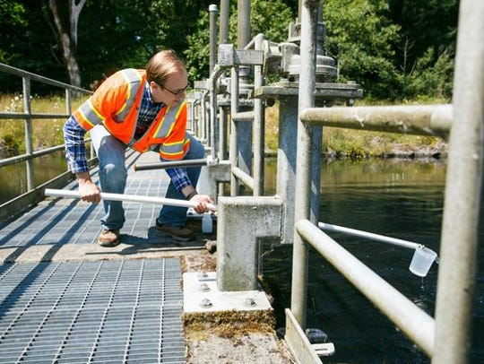 Todd English with Carollo Engineers collects a water sample as full-scale tests using powder activated carbon to remove cyanotoxins from Salem's water supply are underway at Geren Island Water Treatment Facility on Thursday, July 5, 2018.