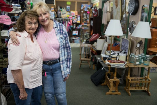 "Rita Littrell, right, of New Castle, Indiana, seen here shopping at a flea market her mother, Wilma Everman, said she voted for Joe Donnelly in 2012, but describes his performance as ""just OK,"" and that she is considering voting for Mike Braun in this fall's Indiana Senate race. Littrell also voted for Donald Trump in 2016, and citing a desire for a new direction, said she's satisfied with his job."