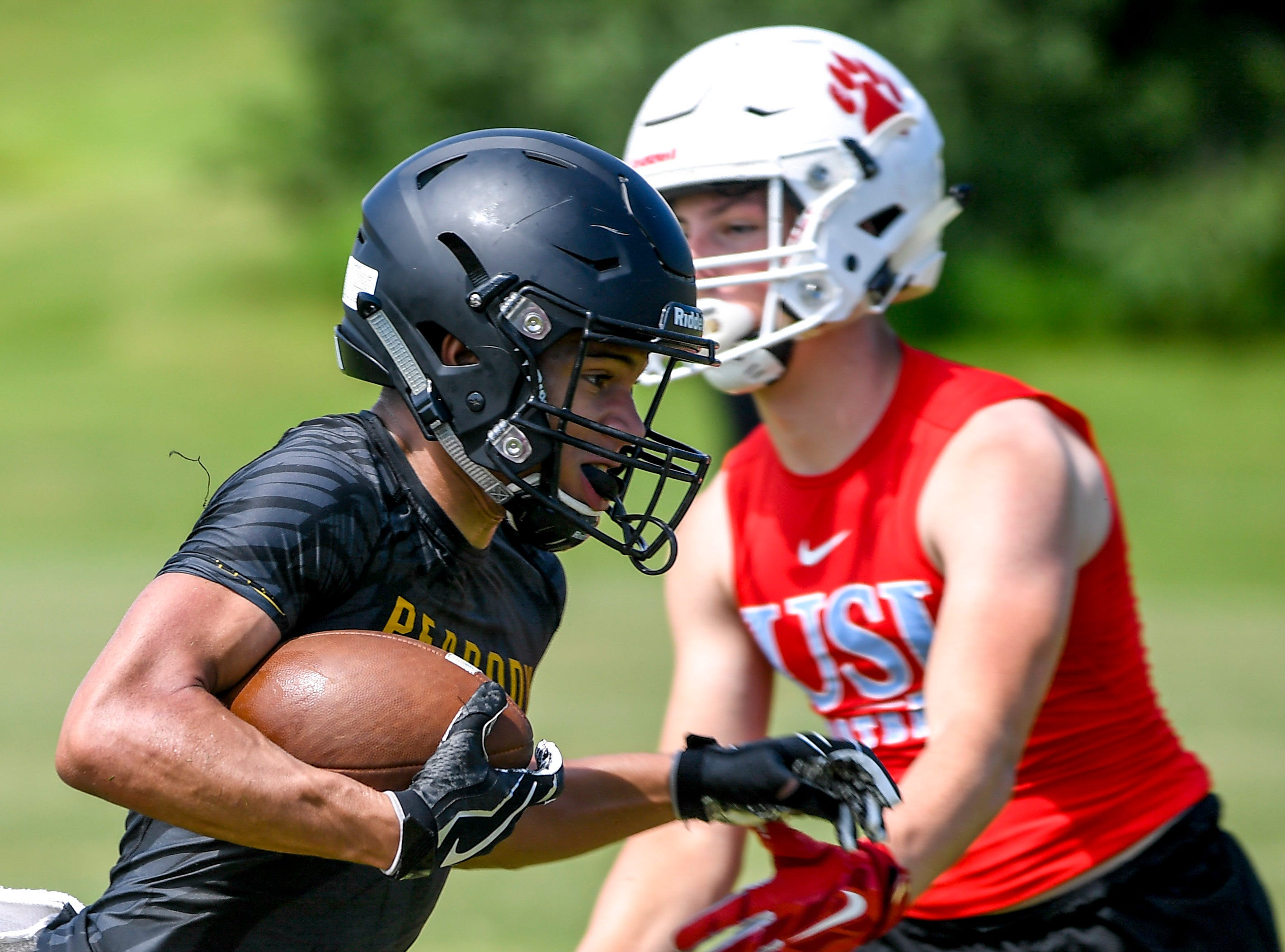 Scenes from a seven on seven football game between Peabody High School and University School of Jackson at Peabody High School on Tuesday, July 10, 2018 in Jackson, TN. Henry Taylor | The Jackson Sun
