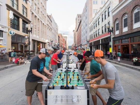 Knoxville FoosVOL had their weekly meet up on Gay St. on  Tuesday, July 10, 2018. Two of the tables were moved outside from Suttree's Tavern while Gay St. was closed for repairs.