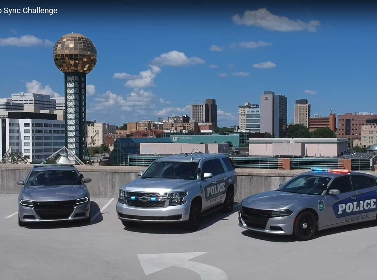The Knoxville Police Department was challenged by K9s4Cops.org and Cleveland TN Police Department to join the national police #lipsyncchallenge.  Here is a screenshot of the department video. It's on YouTube here: https://youtu.be/ela-R_QJdkk