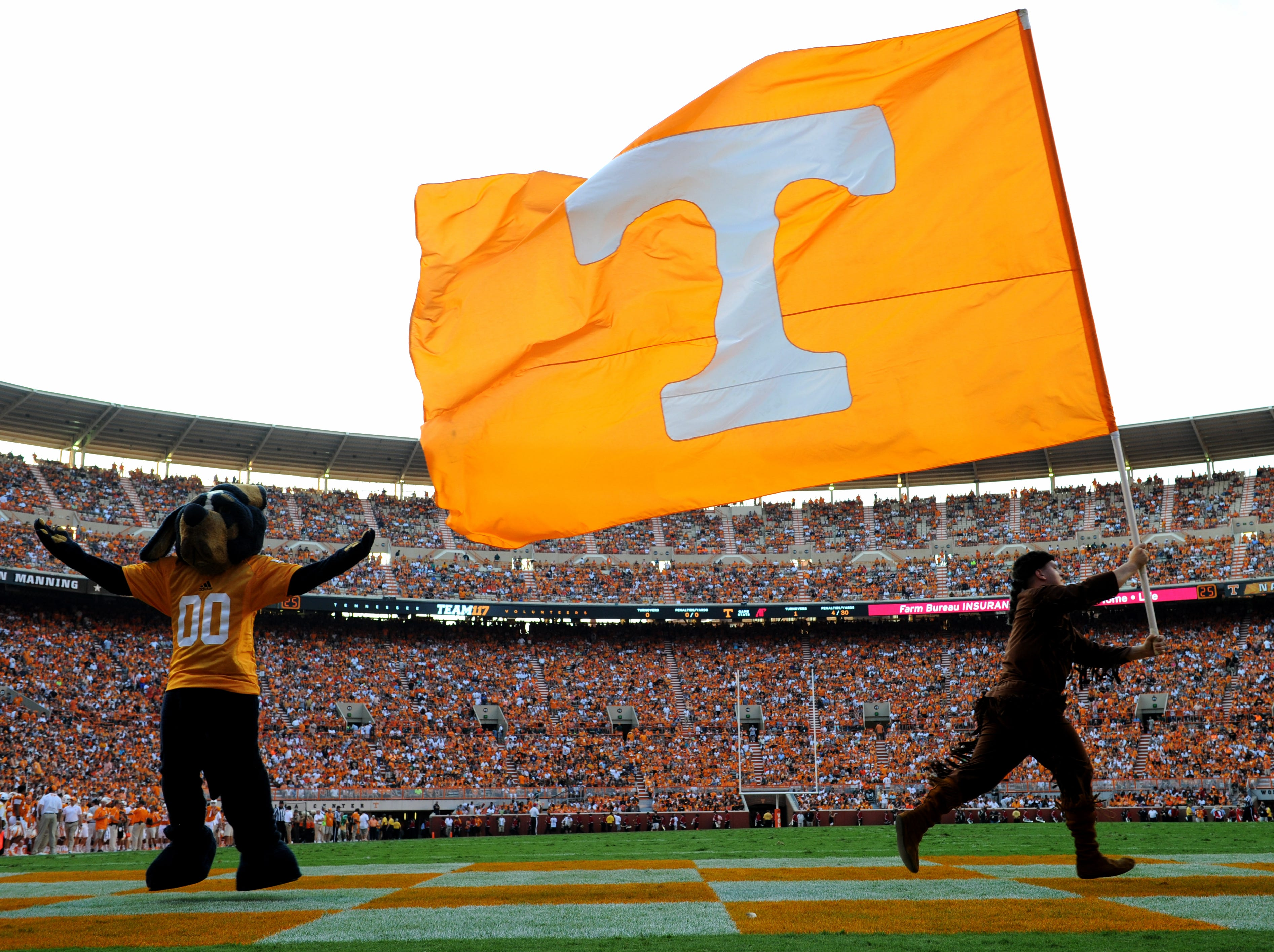University of Tennessee mascots wave the power T flag after the team scores a touchdown during the first half against Austin Peay at Neyland Stadium, Saturday, August 31, 2013 in Knoxville, Tenn.