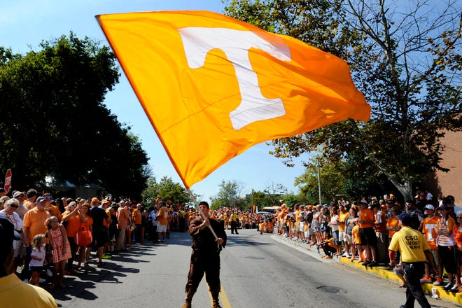 The Tennessee Voluteer mascot waving his flag just before the Vol Walk Saturday, Oct. 5, 2013 near Neyland Stadium in Knoxville.