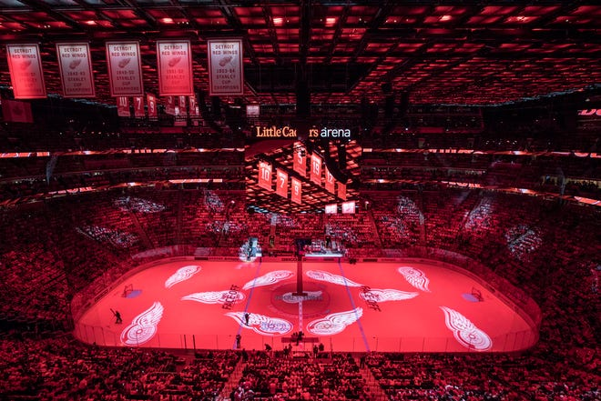 Stanley Cup banners and retired jersey numbers hang from the rafters before the Detroit Red Wings home opener against the Minnesota Wild at Little Caesars Arena on Oct. 5, 2017.