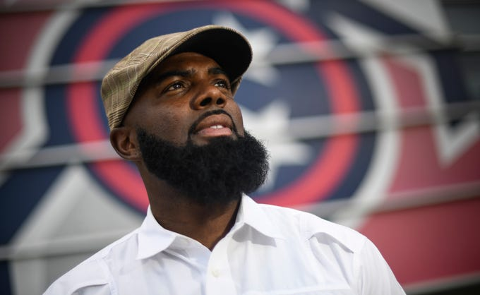 Former Titans wide receiver Kevin Dyson has recently earned his PhD in education from Trevecca University. Photographed Nissan Stadium Thursday, July 12, 2018, in Nashville, Tenn. .