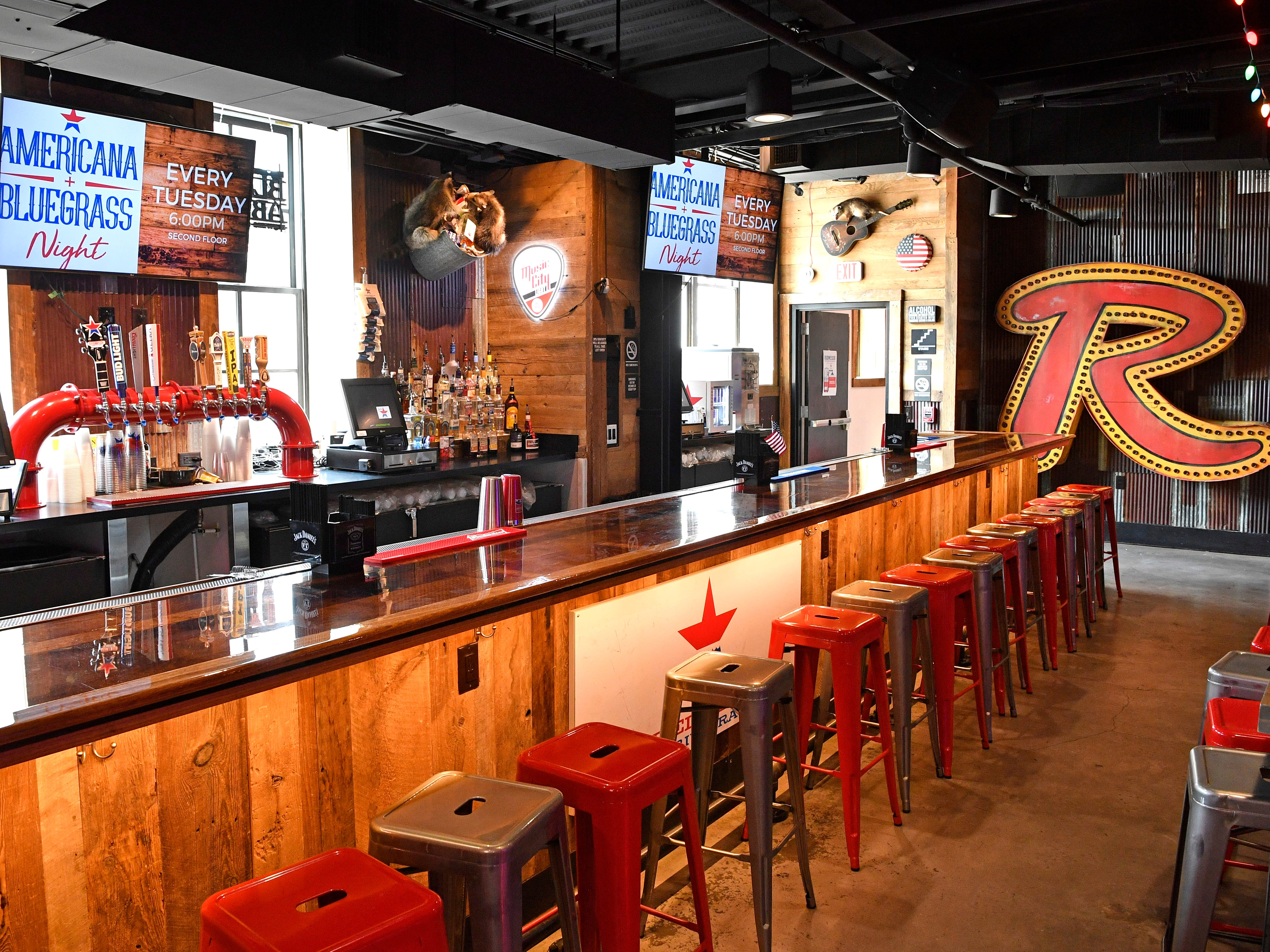 The bar on the second floor of John Rich's Redneck Riviera. The new bar is located at 208 BroadwayWednesday July 11, 2018, in Nashville, Tenn.