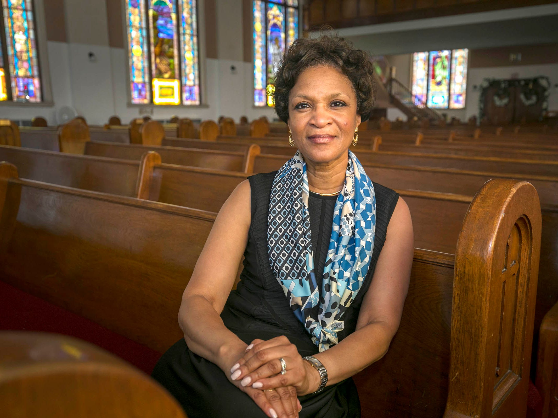 Denise Gray is president of LG Chem Michigan Inc. Tech Center at  her church Shady Grove Missionary Baptist Church in Detroit on Tuesday July 10, 2018.