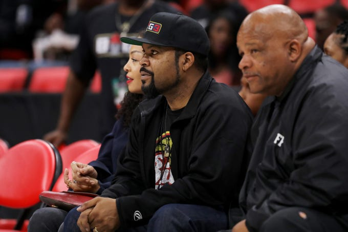 BIG3 co-founder and entertainer Ice Cube looks on during the game between Trilogy and Killer 3s during BIG3 - Week Four at Little Caesars Arena on July 13, 2018 in Detroit.