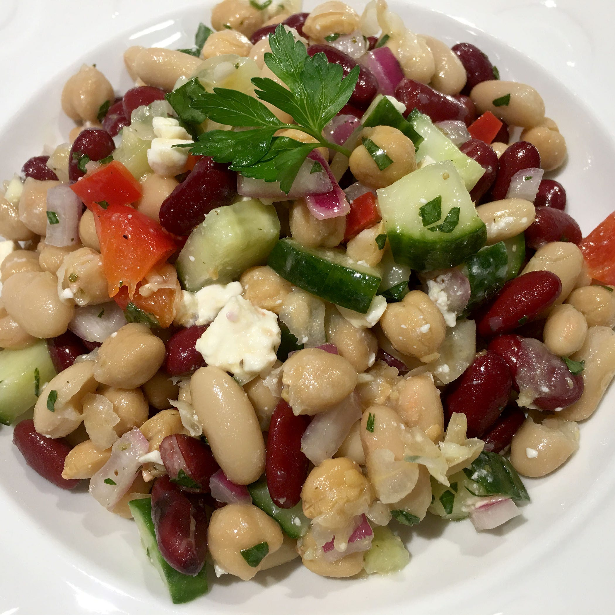 Bean salad perfect for picnics and fits in with Mediterranean diet