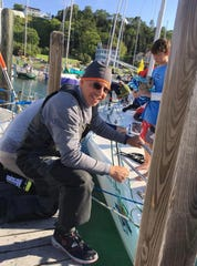 John Anter in the harbor at Mackinac Island after racing in the 2017 Port Huron-to-Mackinac race.