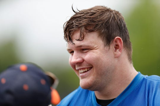Graham Glasgow is moving from center to right guard this season and could land a contract extension later this summer.