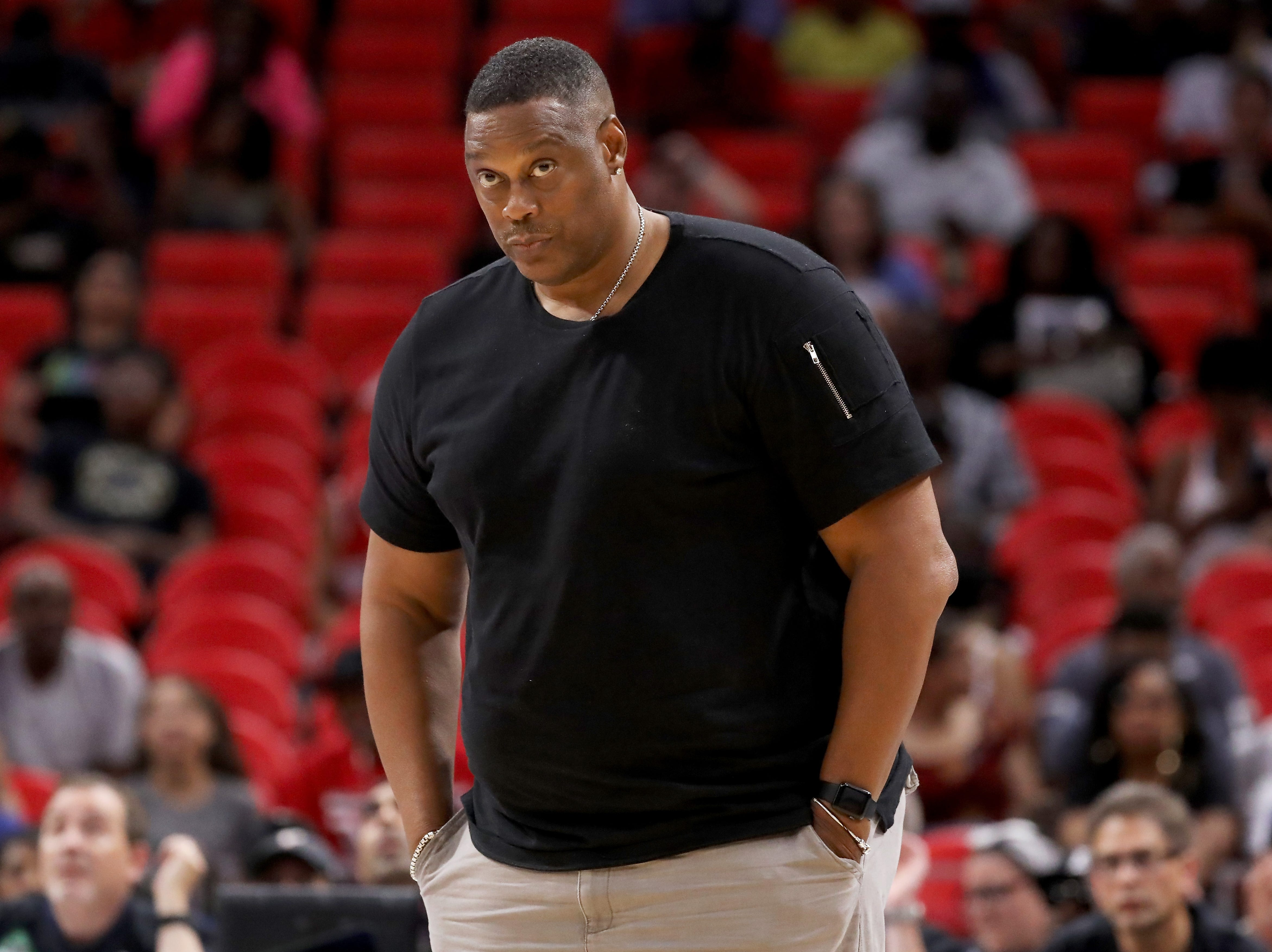 Head coach Rick Mahorn of Trilogy looks on during the game Killer 3s during BIG3 - Week Four at Little Caesars Arena on July 13, 2018 in Detroit.