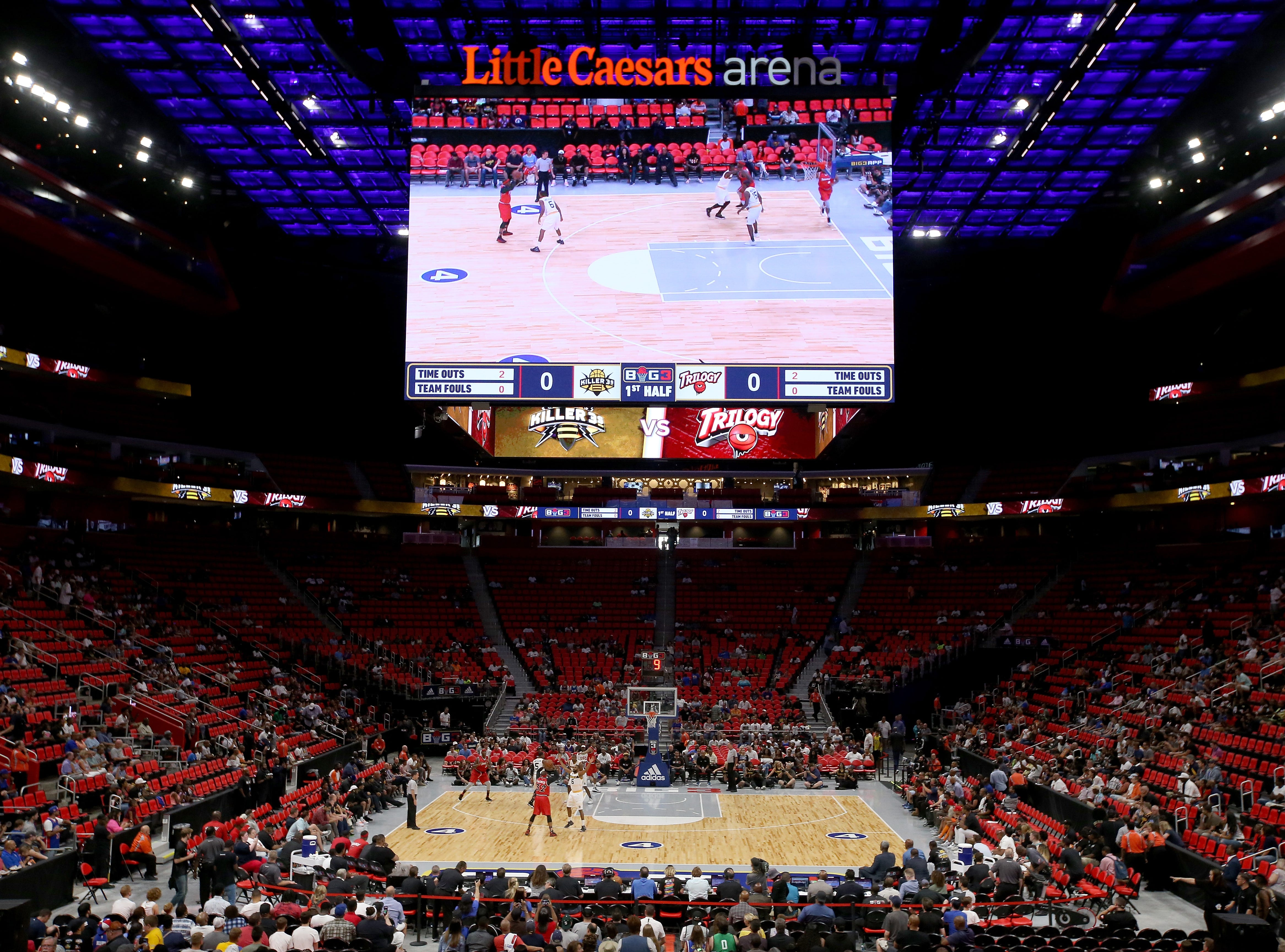 A general view during the game between Killer 3s and Trilogy during BIG3 - Week Four at Little Caesars Arena on July 13, 2018 in Detroit.