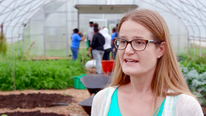 Sarah Reckhow, associate professor of political science at MSU, is directing the InnovateGOV program which pairs MSU students with community and government entities around Detroit including DPSCD. She is at Drew Farm, part of Drew Transition Center in Detroit on June 27, 2018.