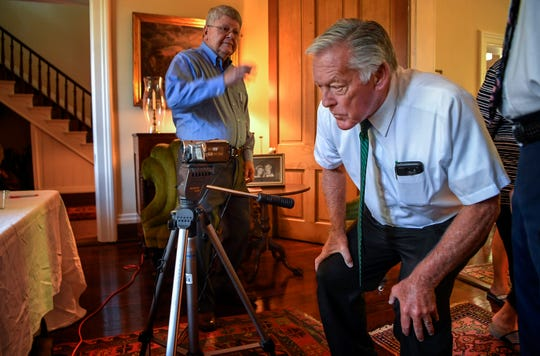 Ray Hughes checks the camera before he interviews Jimmy Gentry for the Veterans Project to be archived by the Library of Congress at the Gentry Farm in Franklin, Tenn., Friday, July 13, 2018.