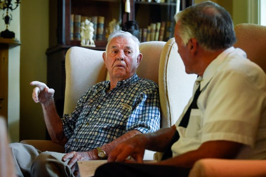 Jimmy Gentry, left, is interviewed by Ray Hughes for the Veterans Project to be archived by the Library of Congress at the Gentry Farm in Franklin, Tenn., Friday, July 13, 2018.