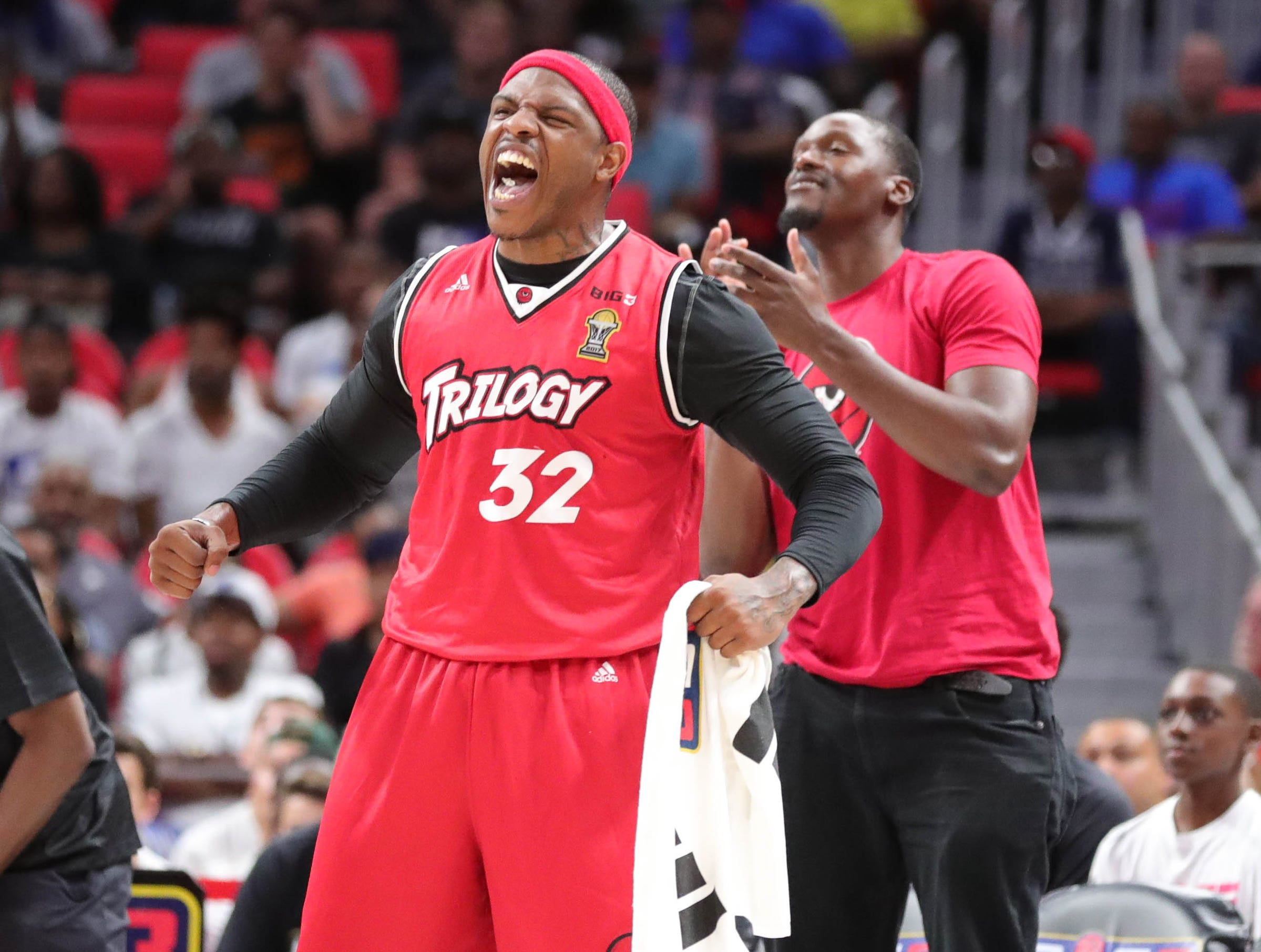 Trilogy player Rashad McCants reacts after a basket during BIG3 action against the Killer 3s on Friday, July 13, 2018 at Little Caesars Arena in Detroit.