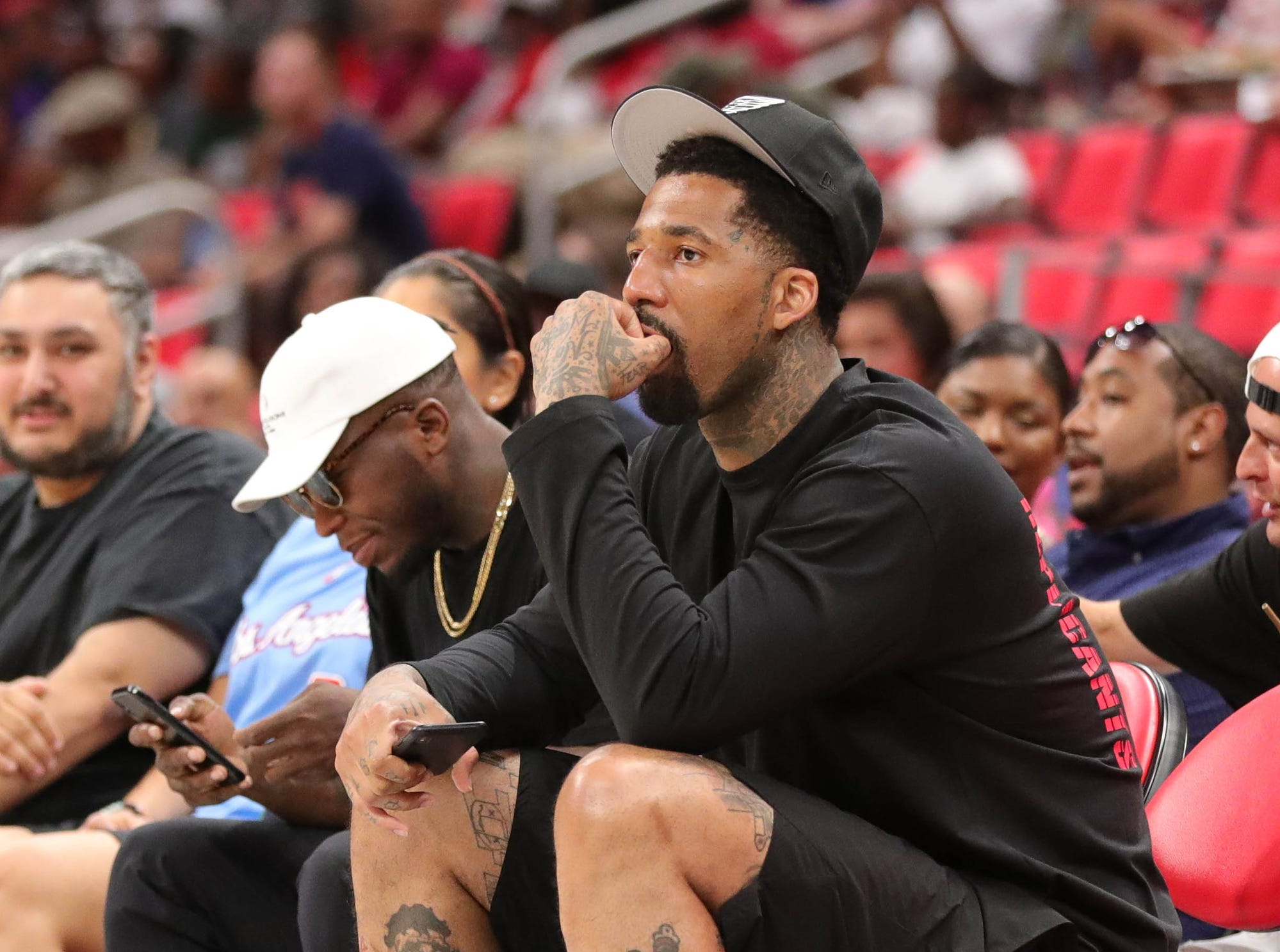 Wilson Chandler watches Trilogy play against Killer 3s during BIG3 action on Friday, July 13, 2018 at Little Caesars Arena in Detroit.