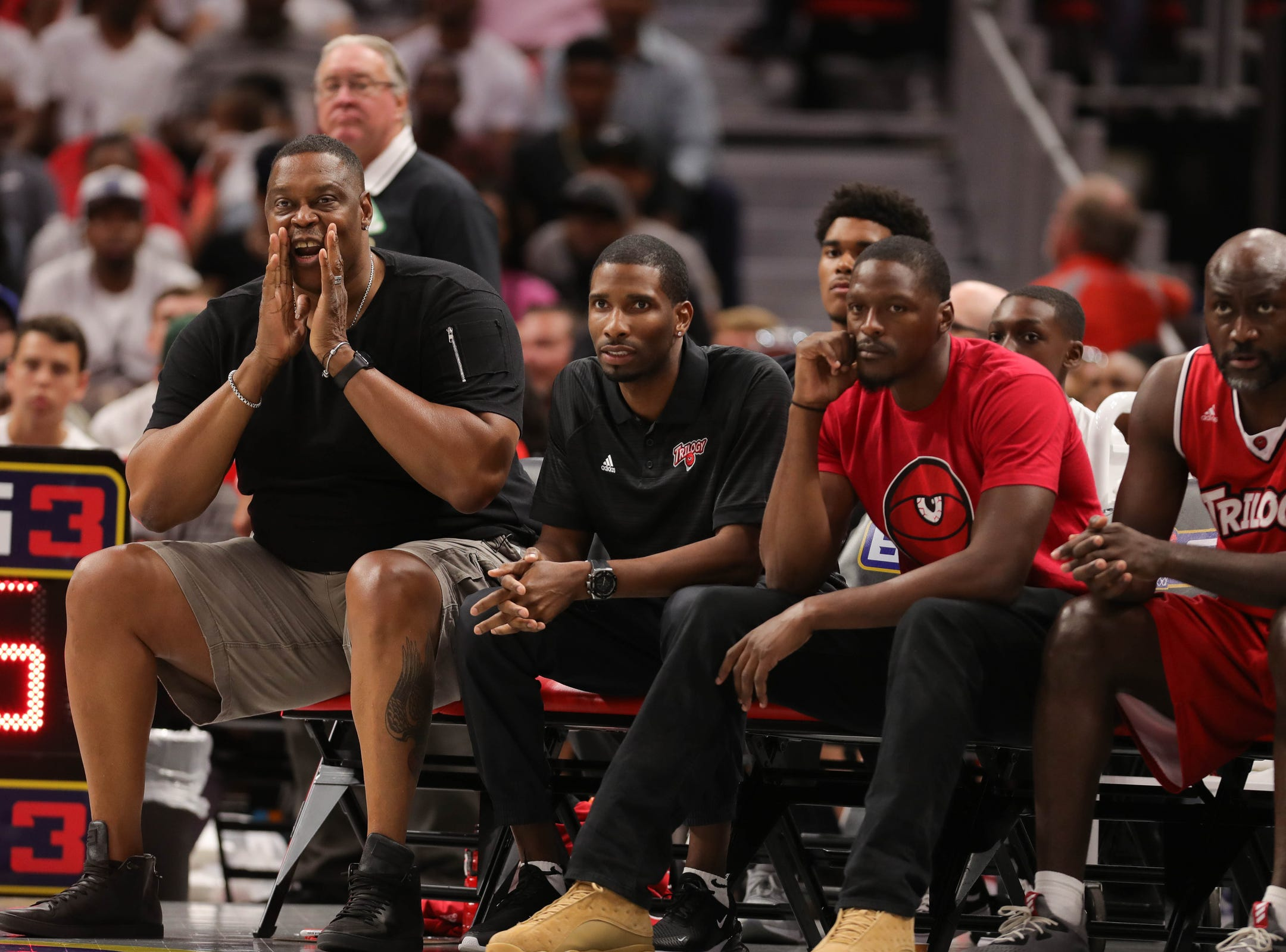 Trilogy coach Rick Mahorn on the bench during BIG3 action against the Killer 3s Friday, July 13, 2018 at Little Caesars Arena in Detroit.