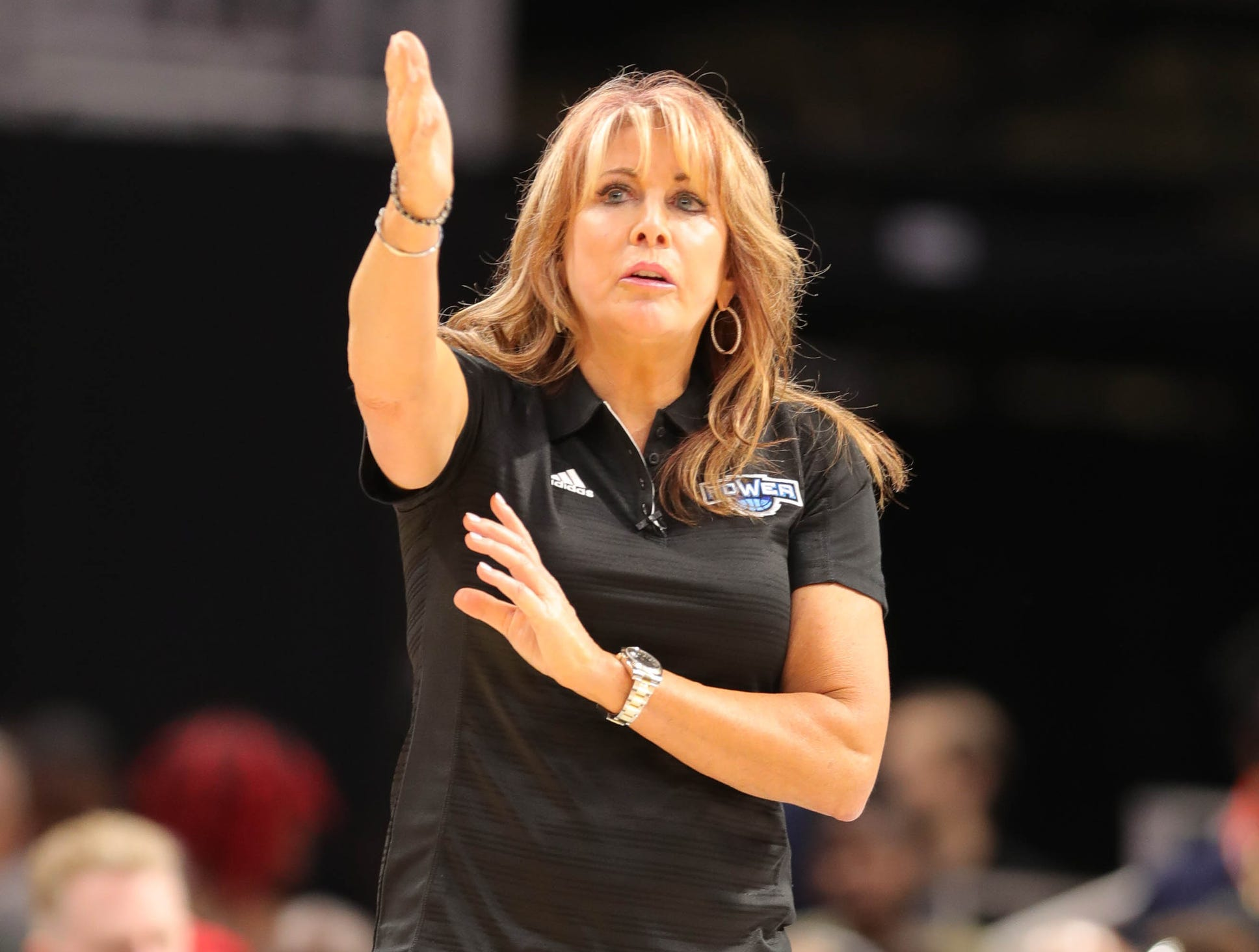 Power's head coach Nancy Lieberman on the bench during BIG3 action on Friday, July 13, 2018 at Little Caesars Arena in Detroit.