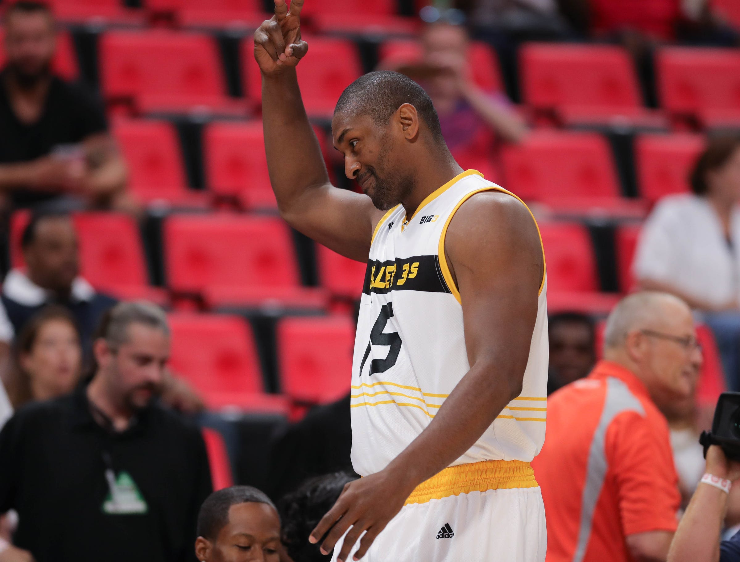 The Killer 3s Metta World Peace is ejected during the first minute of Big 3 action against Trilogy on Friday, July 13, 2018 at Little Caesars Arena in Detroit.