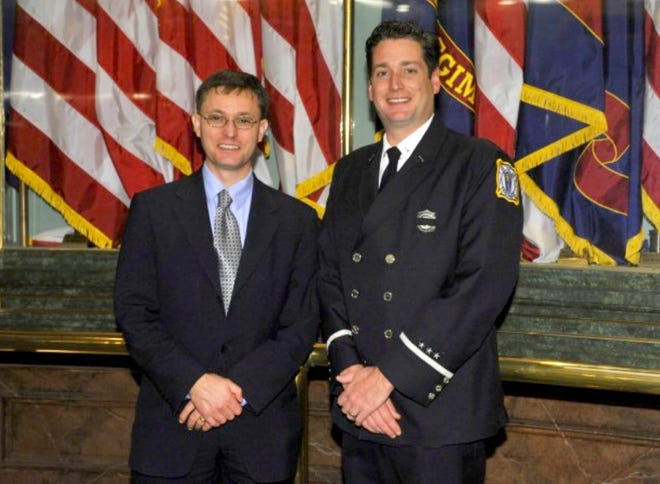 """State representative Martin Howrylak, left, is joined by Troy """"Firefighter of the Year"""", Ryan Wolf at the House of Representatives 9/11 anniversary ceremony in 2013."""