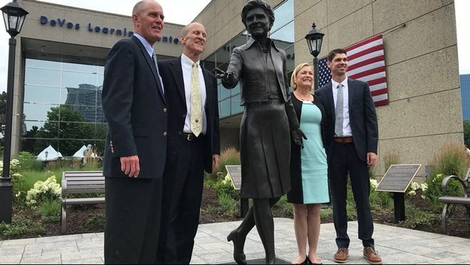 A sculpture of former first lady Betty Ford is unveiled during a celebration of the 105th birthday of former President Gerald Ford on Saturday, July 14, 2018, in Grand Rapids.