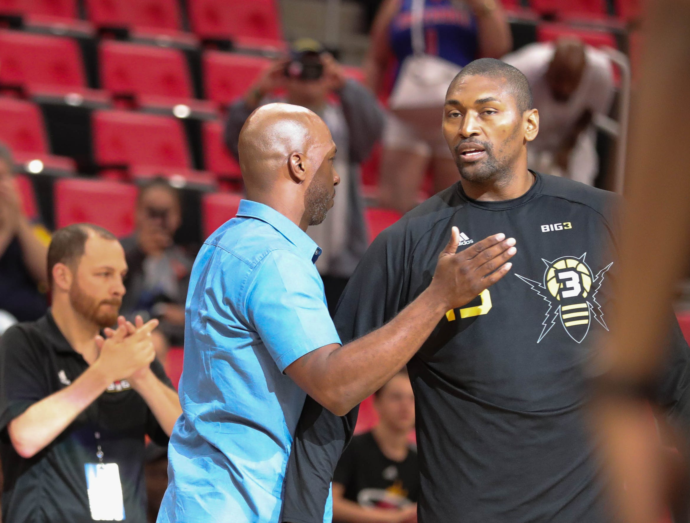 Chauncey Billups and Metta World Peace before BIG3 action on Friday, July 13, 2018 at Little Caesars Arena in Detroit.
