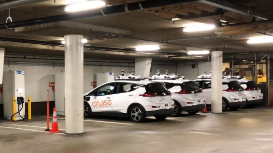GM Cruise AV cars recharging in their newly established charge station in San Francisco in July 2018.