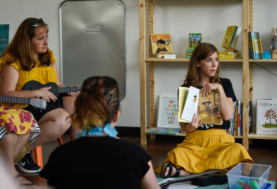 Emily Arrow instructs teachers from all over how to incorporate music with children books during the second annual Teacher Summit in Nashville, Tenn., Saturday, July 14, 2018.