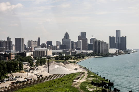 The Detroit skyline as you cross the Ambassador Bridge on Thursday, July 5, 2018.