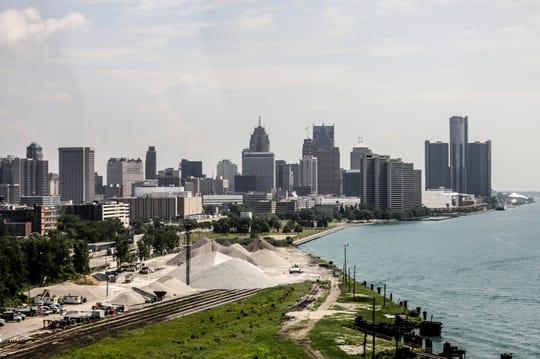 The Detroit skyline as you cross the Ambassador Bridge on Thursday, July 5, 2018.
