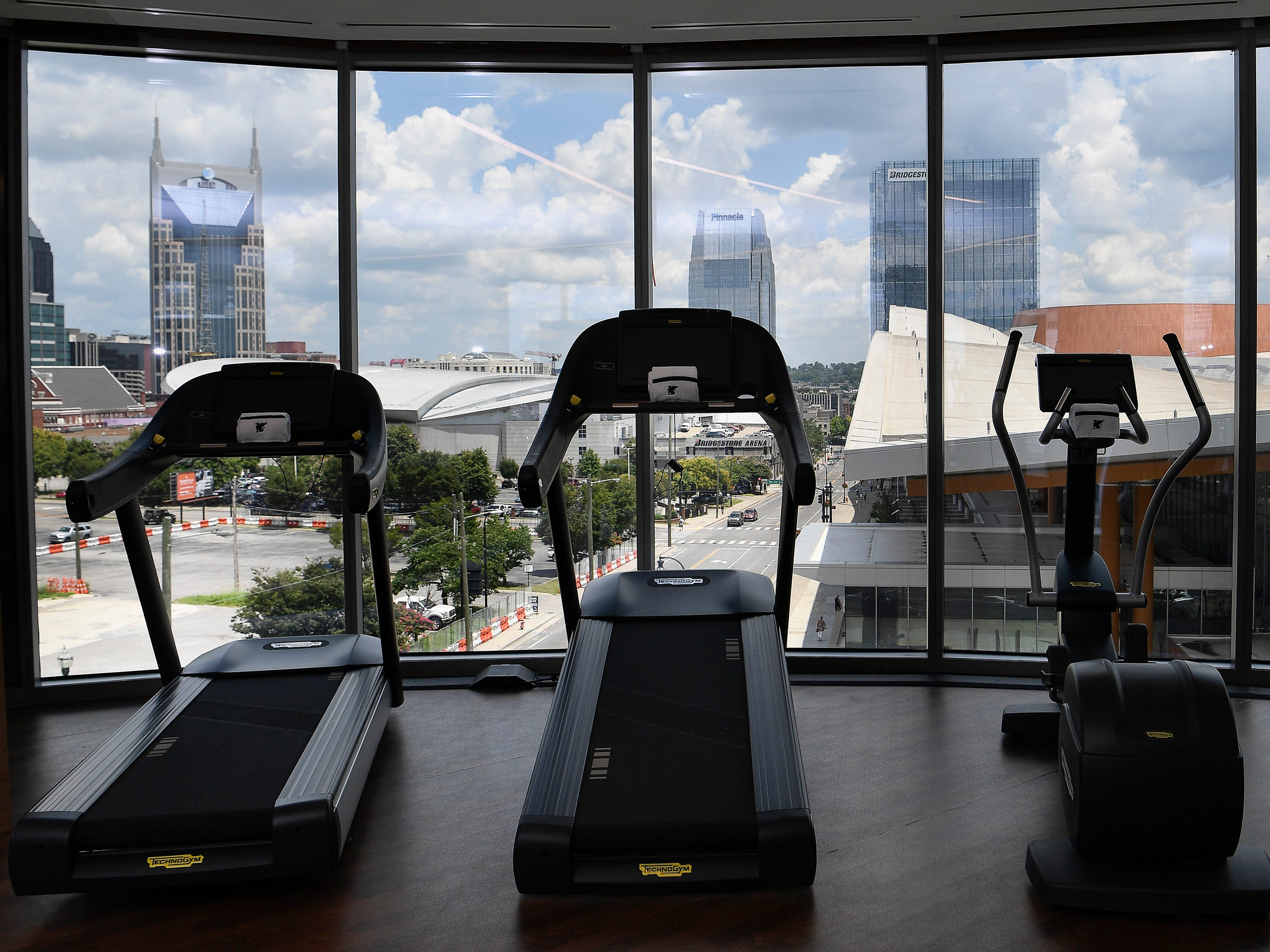 The work out room at the new JW Marriott has a view of the city Tuesday, July 17, 2018, in Nashville, Tenn. .