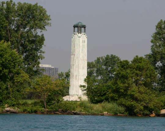 The William Livingstone Memorial Lighthouse on the eastern end of Belle Isle in Detroit.