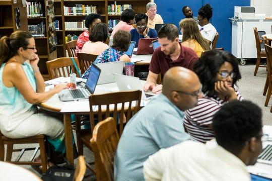 July 18, 2018 - Shelby County School's employees work with a new data system during a training session at Bolton High School. The new system is being deployed throughout Shelby County Schools this fall.