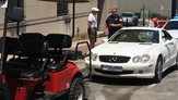 Mercedes driver rammed the back of the Joyride cart in road rage