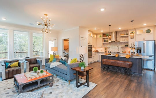 The living room flows right into the kitchen with this open floor plan in the Kinsley model.