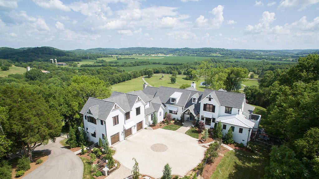 Christian music star Jeremy Camp built the house in 2016 on West Harpeth Road after buying the 20 acres of land.