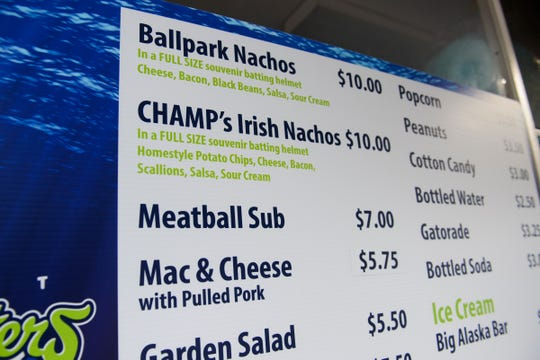 The menu at the nachos truck at the Vermont Lake Monsters game at Centennial Field on Tuesday night July 17, 2018, in Burlington.