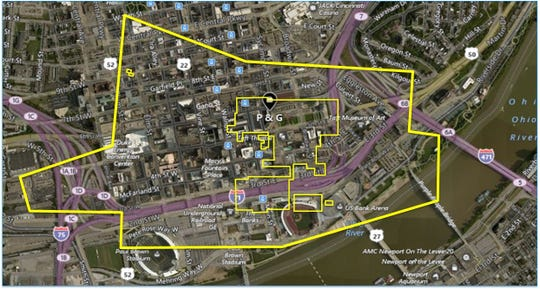 An outline of the factory and site footprints  overlaid on Downtown Cincinnati.
