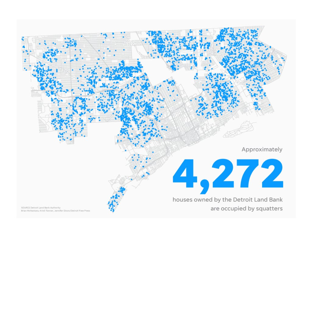 Map shows squatter houses in Detroit.